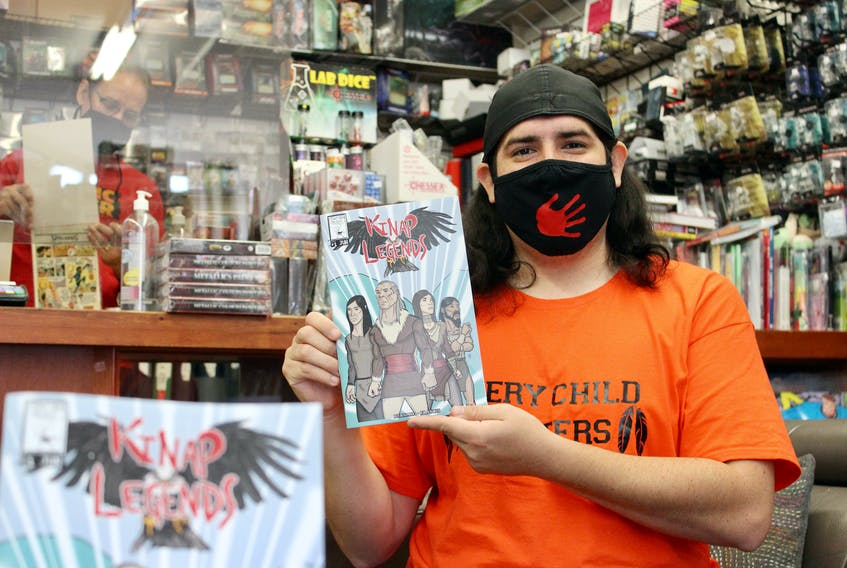 Riley Bernard recently printed another 100 copies of his comic book, Kinap Legends. It is about a Mi'kmaq family going on adventures in Mi'kma'ki, now known as the Maritimes provinces of Canada.