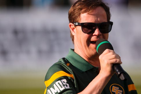 Former Edmonton Elks locker-room attendant, the late, great Joey Moss, sings the national anthem before a game against the Ottawa Redblacks at Commonwealth Stadium in Edmonton on July 9, 2015.