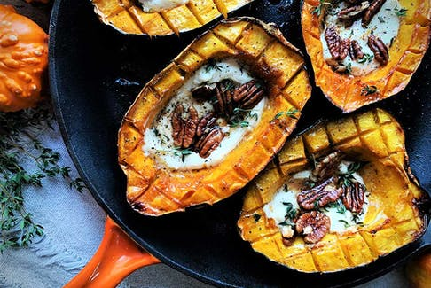 Roasted acorn squash with maple goat cheese and pecans from Vegetables: A Love Story.