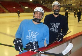 Dylan Manning, left, and Nolan Fowler play for the Kohltech Valley Wildcats in the Nova Scotia Under-18 Major Hockey League.