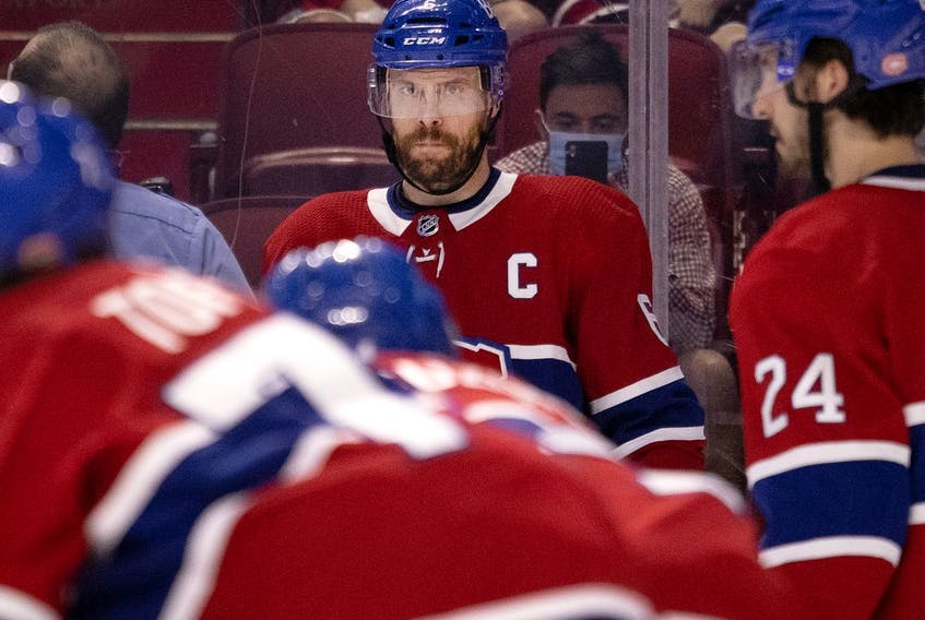 Montreal Canadiens defenceman Shea Weber watches teammates as they wait for a puck drop during playoff action against the Winnipeg Jets in Montreal on June 7, 2021.