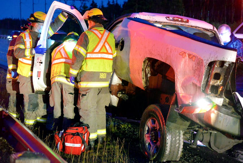 Two people were hospitalized following a single-vehicle rollover near Paradise Friday morning.
