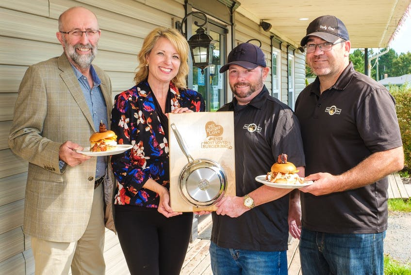 Left to Right: Ron Maynard, president PEI Federation of Agriculture; Melody Dover, president & creative director, Fresh Media; Chef Aaron Ferrill, Holy Cow; Quentin Gillis, Owner, Holy Cow.