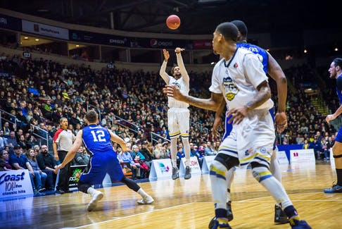 In this Jan. 13, 2018 file photo, Charles Hinkle of the St. John's Edge releases a long-range shot en route to a game-high 31 points in the Edge's 109-99 win over the KW Titans in an NBLC game played before a nearly full house at Mile One Centre. After three seasons playing out of Mile One, the Edge are without a home and one of the team's owners claims that's largely because the operators of Mile One wanted them out of the way. — St. John's Edge file photo/Jeff Parsons