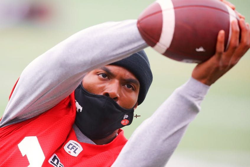 Calgary Stampeders running back Roc Thomas during the teams walkthrough getting set to take on the Montreal Alouettes at McMahon Stadium on Friday. Al Charest / Postmedia