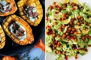 Roasted acorn squash with maple goat cheese and pecans, left, and shaved brussels sprouts salad with crispy chickpeas from Vegetables: A Love Story.