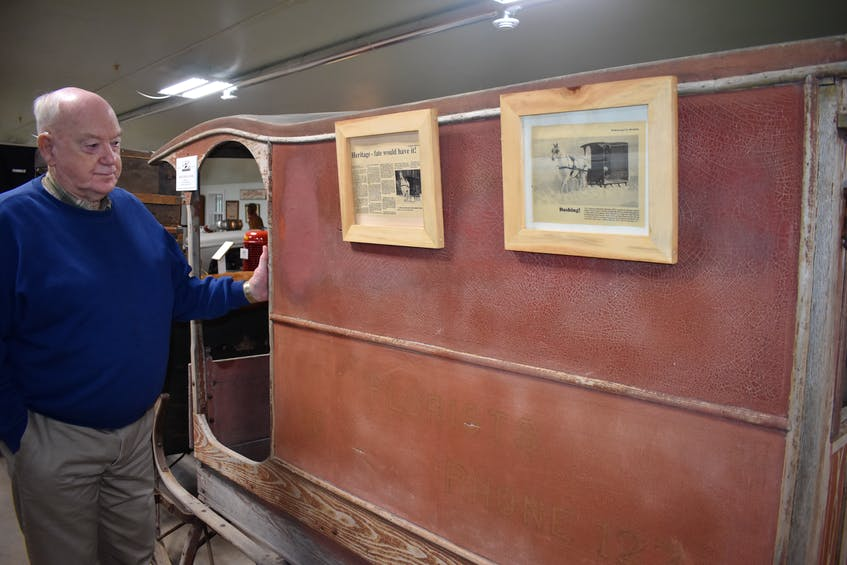 A covered sleigh in the museum was once used by Suckling and Chase Ltd., to deliver flowers during the winter months in the Truro area.  -Harry Sullivan