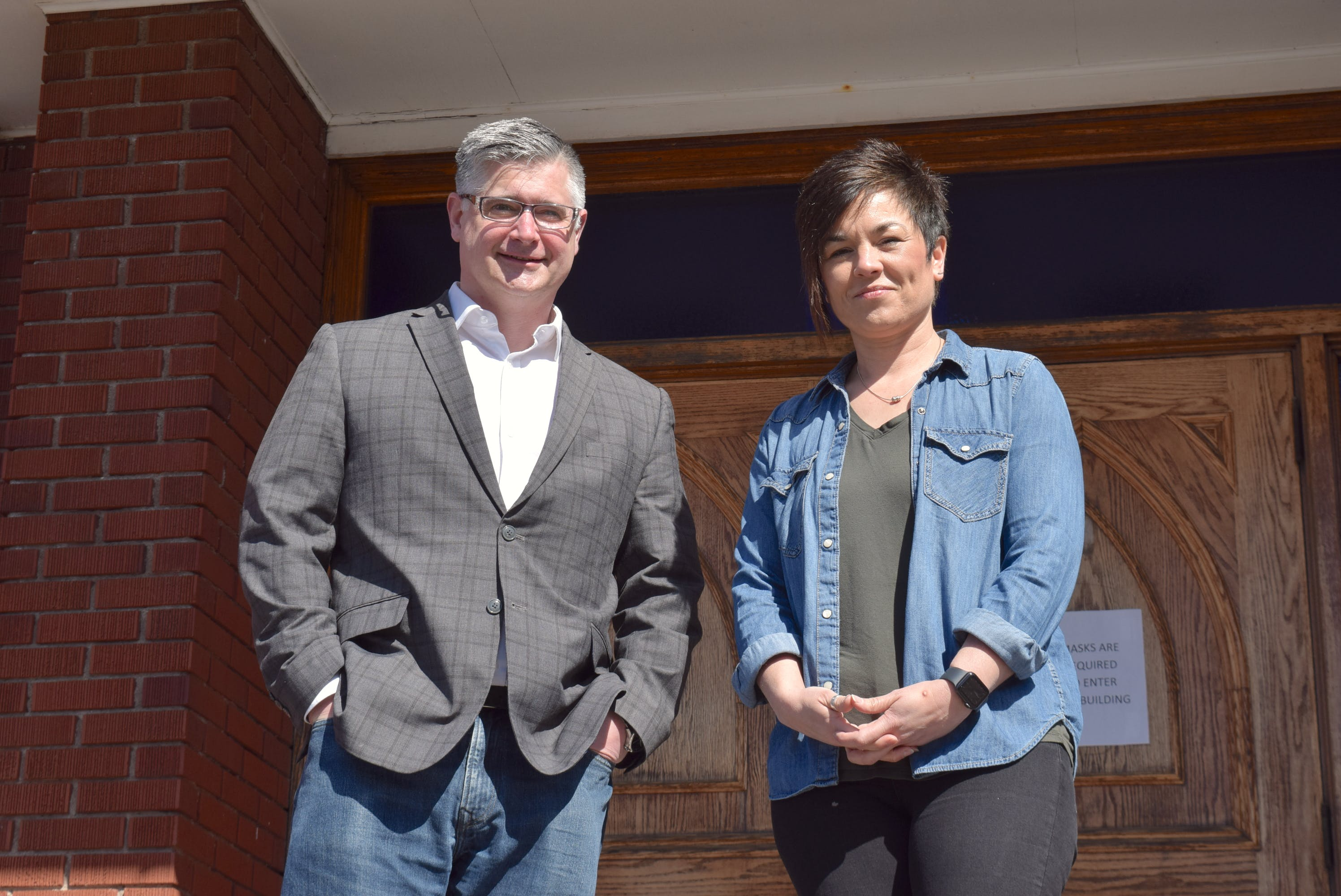 """Rev. Paul Worden of First Baptist Truro, left, and Pastor Tammy Giffin of Groundswell Church, have been friends """"for a long time."""" That relationship has afforded them the opportunity to have conversations others might not have, said Giffin."""