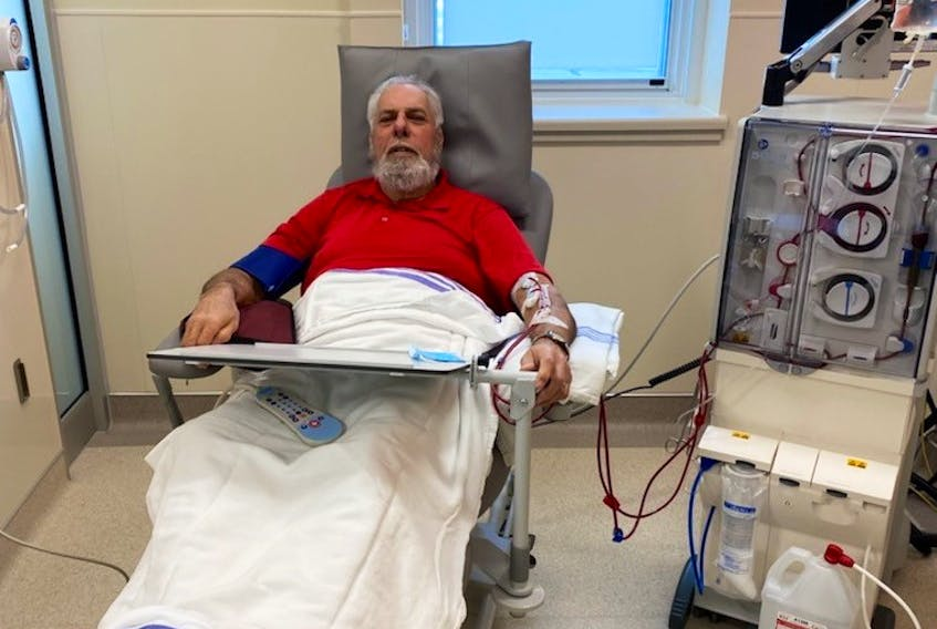 Roger Manzer of Digby County was the first patient at the new six-station dialysis unit at the Digby General Hospital. CONTRIBUTED