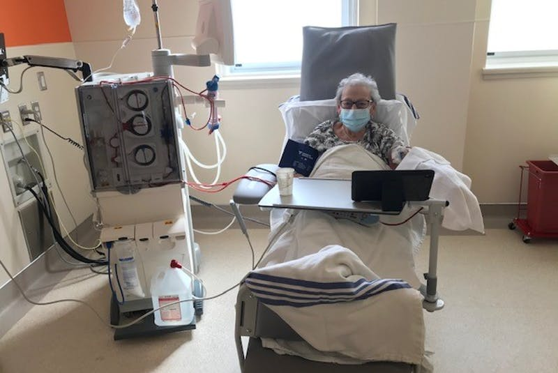 Bernadette LeBlanc of Clare receives her first hemodialysis treatment at the new unit in the Digby General Hospital. CONTRIBUTED  - Saltwire network