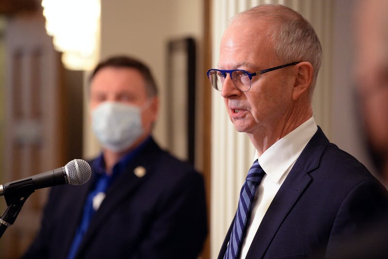 Ches Crosbie announced he was stepping down as leader of the PC Party of Newfoundland and Labrador Wednesday and that MHA David Brazil would step in as interim leader. — Keith Gosse/The Telegram