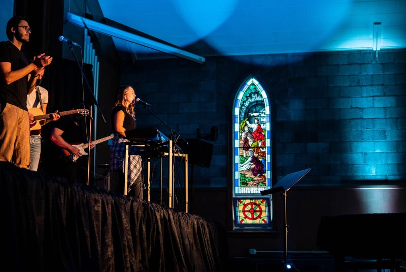 Groundswell Church has held worship nights before in First Baptist Church Truro's building. The next one takes place on Easter Sunday. - Josh Swim Media