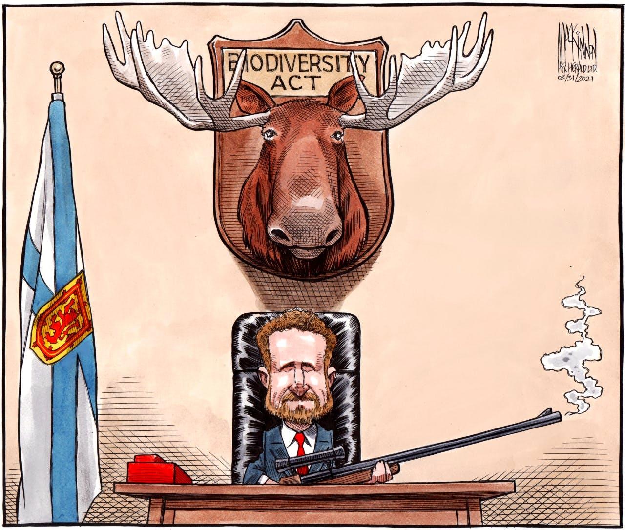 Bruce MacKinnon cartoon for March 31. Nova Scotia, Premier Iain Rankin, biodiversity act
