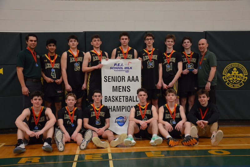 The host Three Oaks Axemen defeated the Charlottetown Rural Raiders 87-66 to repeat as Domino's Prince Edward Island School Athletic Association senior AAA boys' basketball champions. Members of the Axemen are, front row, from left: Ryan MacKinnon, Mason Waugh, Zack Blood, Clark Farrell, Campbell Wadman and Damian Barlow. Back row: Chris Richard (assistant coach), Armaan Singh, Landon Gallant, Jason Stefanuca, Sean Matheson, Cohen Billings, Drake Blacquiere, Spencer Rossiter and Faro Halupa (head coach). - Jason Simmonds