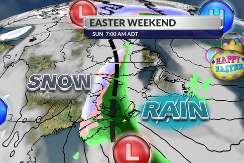 While Labrador is forecast to receive up to 35 centimetres of snow over the next couple of days, the island portion of the province is forecast to see sun and cloud, along with some rain over the Easter weekend. Cindy Day image