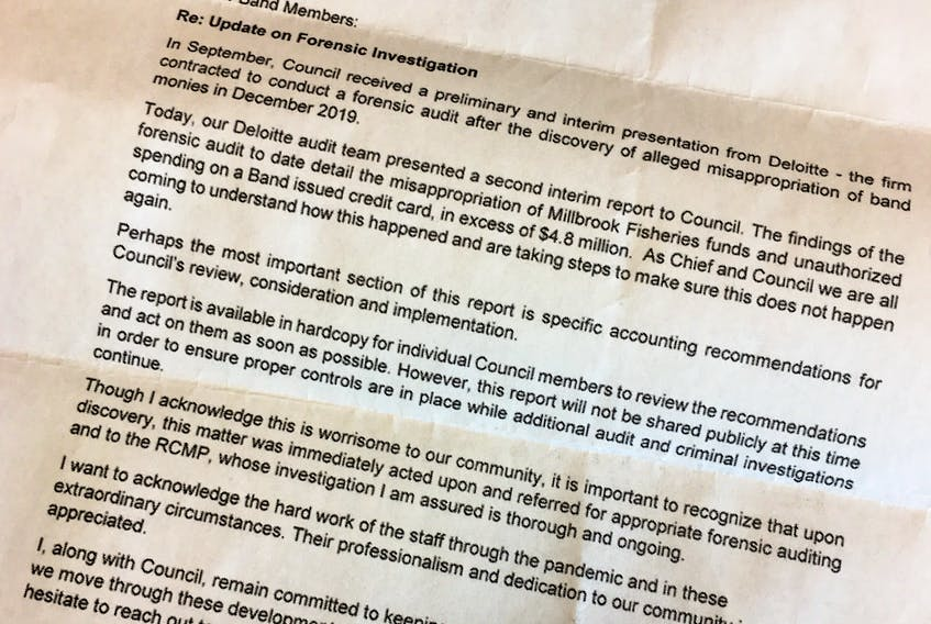 A copy of the letter sent to Millbrook band members from council regarding an ongoing RCMP investigation.