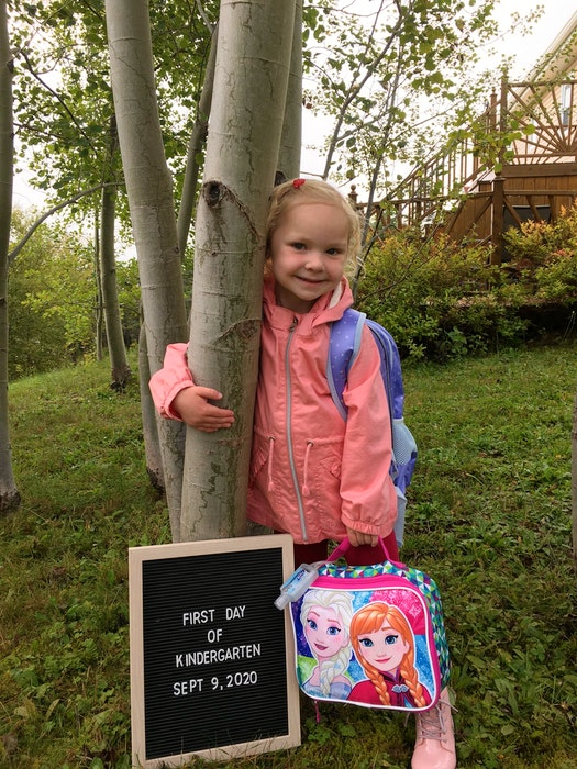 Claire Andrews on her first day of kindergarten last fall. — Contributed