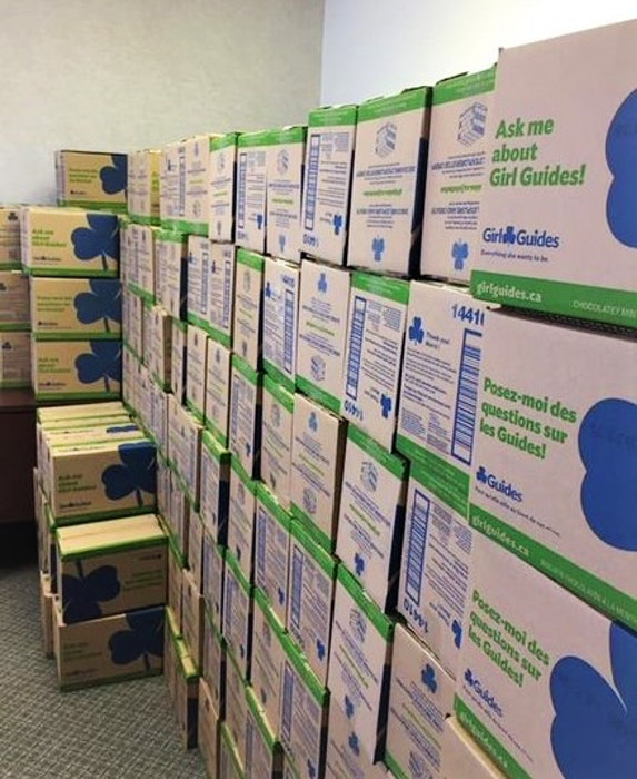 Cases of Girl Guide cookies which have been piling up with COVID impacting the Guides ability to sell in traditional methods. - Contributed