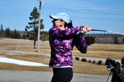 Lori Townsend tees off at the West Pubnico golf course for the first round of the season. KATHY JOHNSON