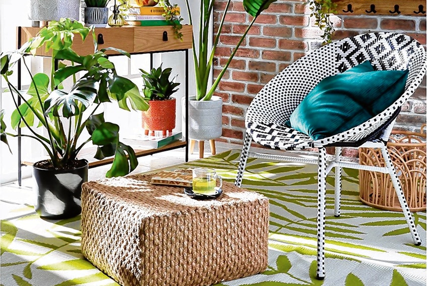 Outdoor carpets can make a colourful statement inside a family home, too. Eight-by-10-foot Leaf Print Outdoor Rug, $60, HomeSense.