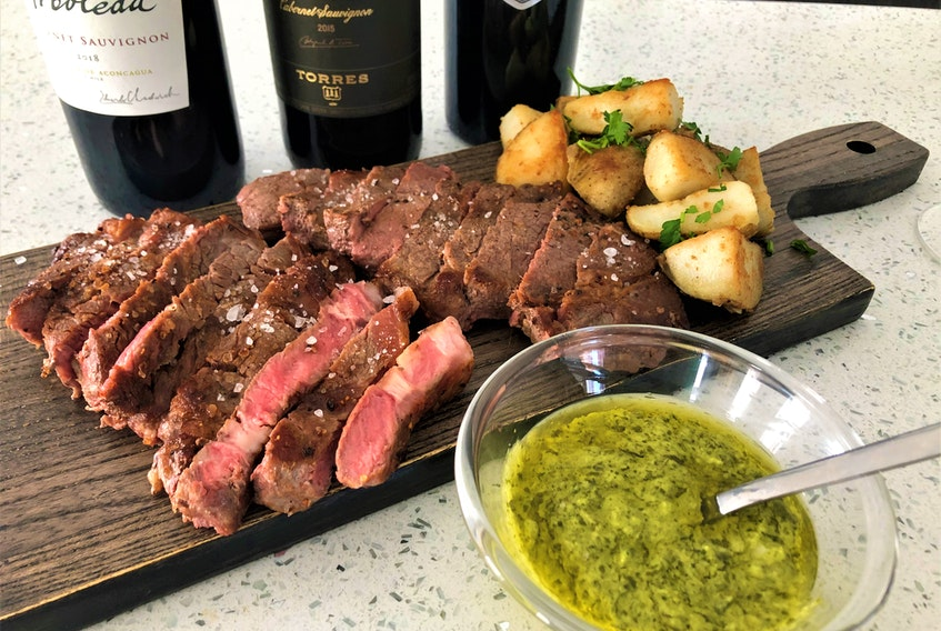 When pairing a premium Cabernet Sauvignon Mark DeWolf suggests rich proteins such as this striploin purchased from Sysco@home cooked medium-rare. Photo: Mark DeWolf