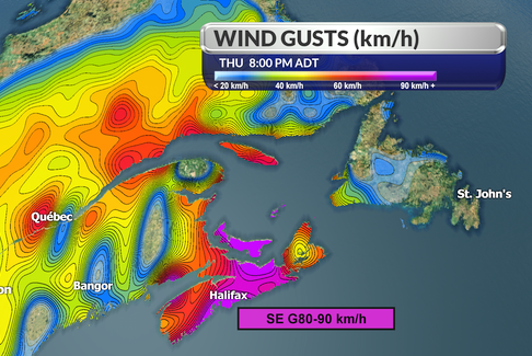 Western Cape Breton could see wind gusts of 60 or 70 km/h this long weekend.