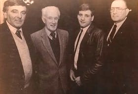 From left, executive members Tom Jeffries, Matt Burke, goaltender Shawn MacKenzie and general manager J.I. Albrecht of the Halifax Blues in 1986. CONTRIBUTED