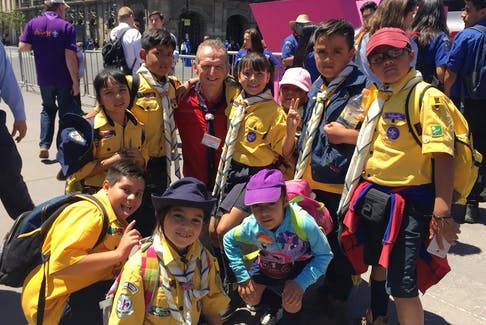 Former Scouts Canada executive commissioner and CEO Rob Stewart had a pre-Covid opportunity to share some laughs with a group of children in Mexico City who are part of the worldwide Scouting movement. Contributed