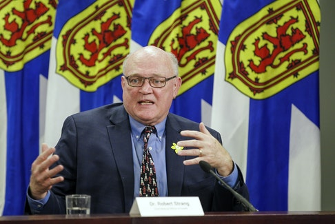 Dr. Robert Strang, Nova Scotia's chief medical officer of health, speaks at a news conference Thursday, April 1, 2021, in Halifax. - Communications Nova Scotia