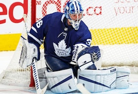 Jack Campbell of the Toronto Maple Leafs makes a save late in the game on his way to setting a Maple Leaf consecutive win record against the Montreal Canadiens during an NHL game at Scotiabank Arena on April 7, 2021 in Toronto, Ontario, Canada.