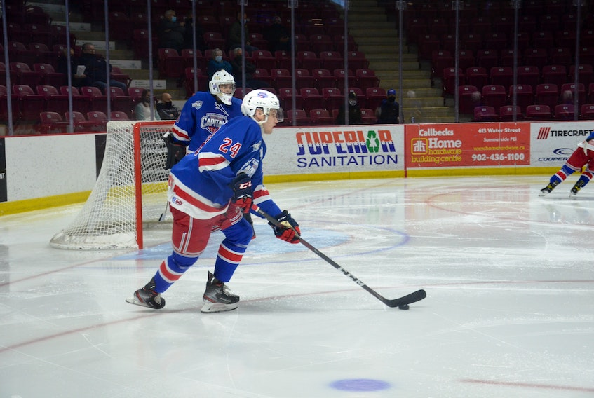 Summerside D. Alex MacDonald Ford Western Capitals defenceman Ryan Miley scored two goals in a 5-2 victory over the Pictou County Weeks Crushers Saturday at Eastlink Arena. Miley was named the game's first star.