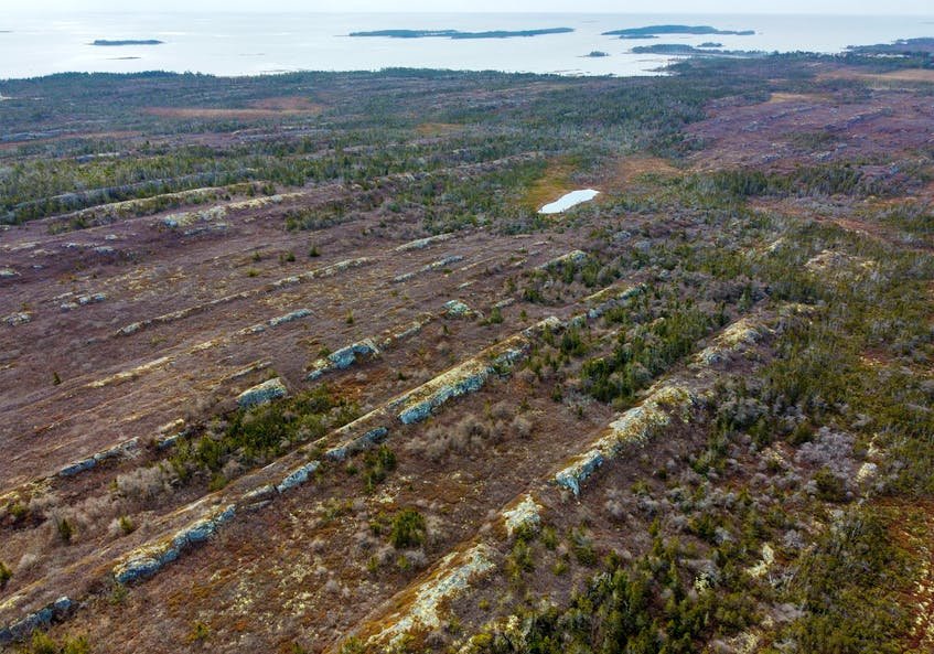 An aerial photo of some of the interesting formations of stone that extend throughout the area near Owls Head provincial park and Little Harbour, N.S. - Tim Krochak • The Chronicle Herald