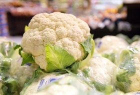 Cauliflower at a grocery store