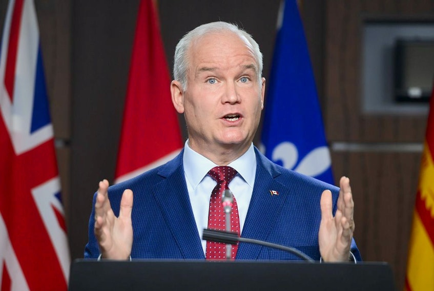 Conservative leader Erin O'Toole holds a press conference on Parliament Hill in Ottawa on Tuesday, April 6, 2020.