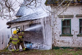 Firefighters had to tackle a blaze from the outside of an abandoned building in Wellington because of its condition. This was the second fire in four hours that firefighters from several departments responded to in the early morning hours of April 12. James Vaughan Photo