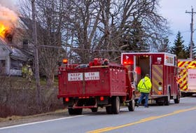 Firefighters from several departments on the scene of an April 12 fire in Wellington, Yarmouth County. James Vaughan Photo
