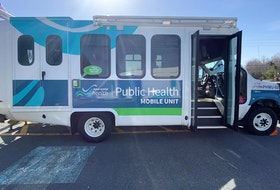 Nova Scotia Public Health Mobile testing unit set up at the Italy Cross, Middlewood and District Firehall on Friday, April 9, 2021.