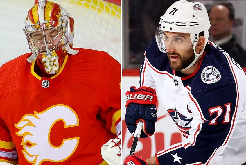 Two new members of the Maple Leafs, from left, David Rittich and Nick Foligno.