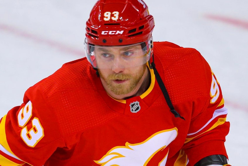 Calgary Flames Sam Bennett during warm-up before a game against the Ottawa Senators in NHL hockey in Calgary on Sunday March 7, 2021.