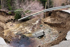 Heavy rains in central Newfoundland have led to the washout of the Trans-Canada Highway west of Springdale. (Photo courtesy Moody Roberts)