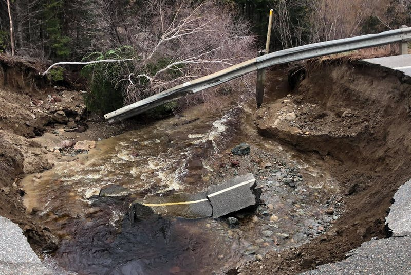 Heavy rains in central Newfoundland have led to the washout of the Trans-Canada Highway west of Springdale. (Photo courtesy Moody Roberts) - Contributed