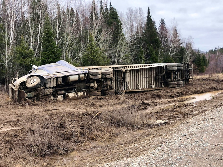 This transport truck was a victim of Monday night's TCH washout near Springdale. (Photo courtesy Moody Roberts.) - Contributed