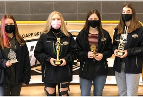 The Cape Breton Blizzard Under-18 'A' annual award winners for the 2020-21 season are from left, Bhreagh MacKenzie (most improved player), Jordan Cormier (coach's award for leadership), Ashlyn Tierney (most sportsmanlike player) and Erin Lawless (most dedicated player). CONTRIBUTED • CAPE BRETON BLIZZARD