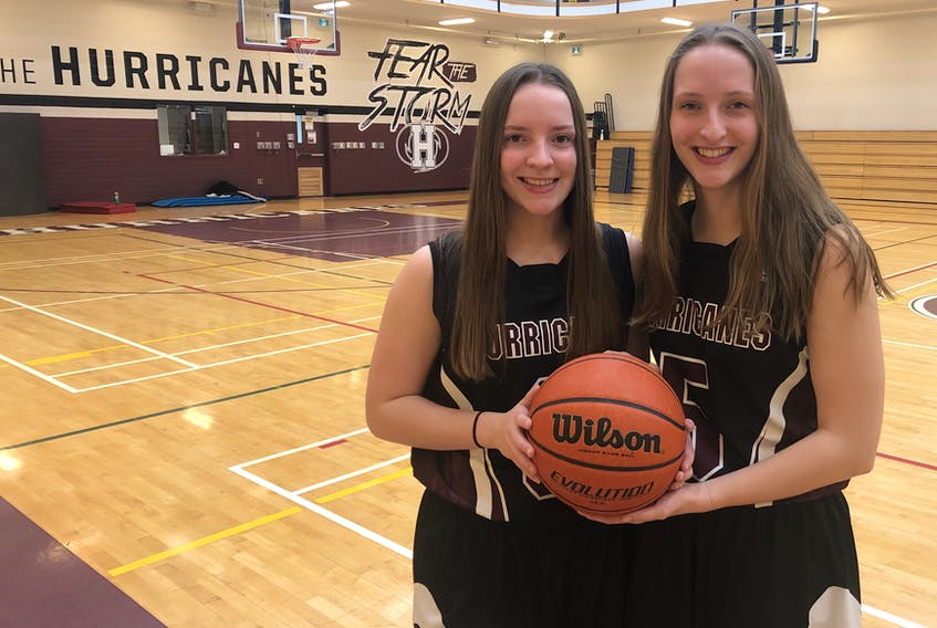 Amy Plaggenhoef, left, will join her older sister, Ashley, on the Holland College Hurricanes women's basketball team this fall.