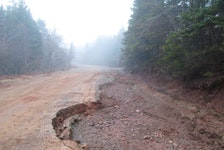 A portion of Foot Cape Road, near Broad Cove Banks Road, eroded away due to the icy conditions from an Easter long weekend storm. IAN NATHANSON/CAPE BRETON POST