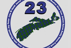"""The design to honour the victims of last year's attacks in Nova Scotia includes each name, the number """"23"""" and a Nova Scotia tartan-filled shape of the province."""