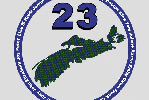 "The design to honour the victims of last year's attacks in Nova Scotia includes each name, the number ""23"" and a Nova Scotia tartan-filled shape of the province."
