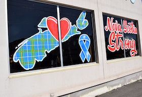 """Symbols of """"Nova Scotia Strong"""" have become widely visible across the province, including along Robie Street in Truro. Though it has taken on other meanings, the message was born out of the tragic mass killings of 22 people and an unborn baby one year ago."""