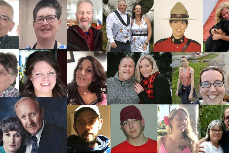 The victims of a mass shooting in Nova Scotia on April 18 and 19, 2020, from left to right: Top row: Peter Bond, Lillian Campbell, Tom Bagley, Greg and Jamie Blair, Const. Heidi Stevenson and Lisa McCully. Middle row: Joy Bond, Kristen Beaton, Heather O'Brien, Sean McLeod, Alanna Jenkins, Emily Tuck, Jolene Oliver and Aaron (Friar) Tuck. Bottom row: Joanne Thomas, John Zahl, Joey Webber, Corrie Ellison, Gina Goulet and Dawn and Frank Gulenchyn. - Contributed