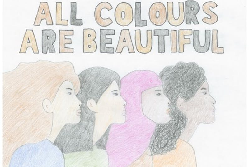 Karen Corcoran's poster won first place in the Grades 10-12 category in the 2021 provincial Sharing Our Cultures anti-racism poster contest. — CONTRIBUTED - Contributed